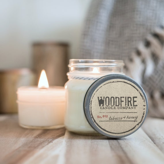 Crackle candle BLACK RASPBERRY VANILLA wood wick 8oz soy candle Summer candle Delicious scent. Mason jar candle