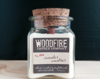 SWEATER WEATHER Apothecary Cork Topped Jar Wood Wick Soy Candle 8.5oz Fall Scent - Rustic Modern- Woodfire Candle