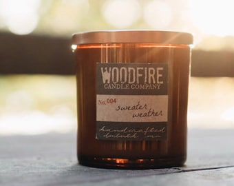 Whiskey Glass Soy Wood Wick Candle - Woodfire Candle Co
