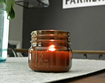 COZY CABIN - Mini Amber Wood Wick Mason Jar Soy Candle - 6oz - Rustic- Woodfire Candle Co