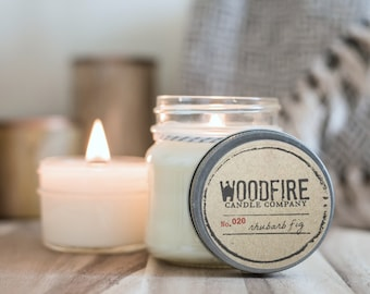 RHUBARB FIG Wood Wick Mason Jar Soy Candle Cotton Bag Gift Packaging, rustic decor- Woodfire Candle Co
