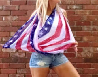 Long 4th of July, Stars and Strips Scarf, American Flag Scarf, 4th of July, Infinity scarf.