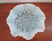 L.G. Wright or Fenton Blue Opalescent Daisy and Fern Crimped Bowl Wedding Bowl