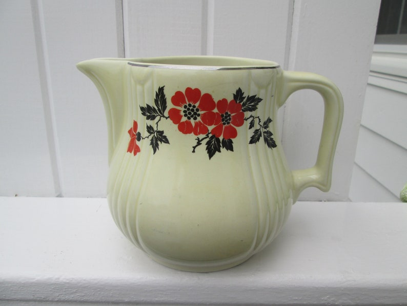 Hall's China Red Poppy Water Pitcher 1930's Made in USA