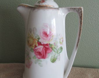 A Beautiful Barvarian Coffee Or Chocolate Pot with 2 Toned Pink and Yellow Roses