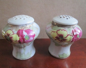 Vintage Flowered Salt and Pepper Shakers