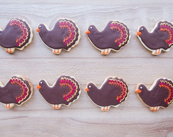 Thanksgiving Turkey Custom Hand-decorated Cookies - Party Favors, Hostess Gift