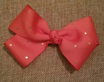 Peach/Coral with metallic gold dots
