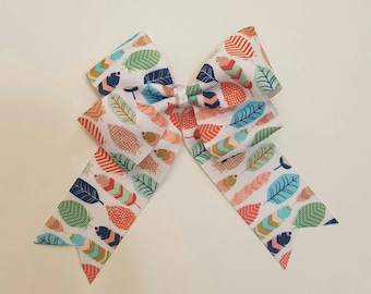 Feathers Multicolor Handmade Bow