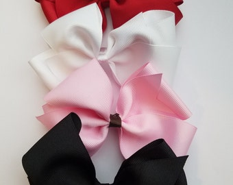 Solid Color Handmade Bow (color options available) Black , Red , White , Pink