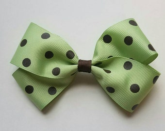 Handmade light green with chocolate brown polka dots bow