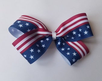 Handmade Fourth of July bow, USA flag ribbon