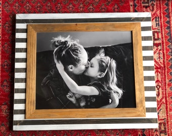 Handmade 16x20 Picture Frame, Stripe, Black and White