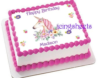 Unicorn Birthday Party Girl Edible Icing Sheet Custom Cake Image Decorations Frosting Top 2