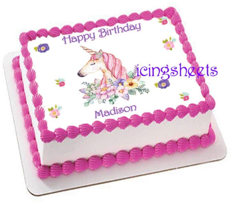 Unicorn Birthday Party Girl Edible Icing Sheet Custom Cake