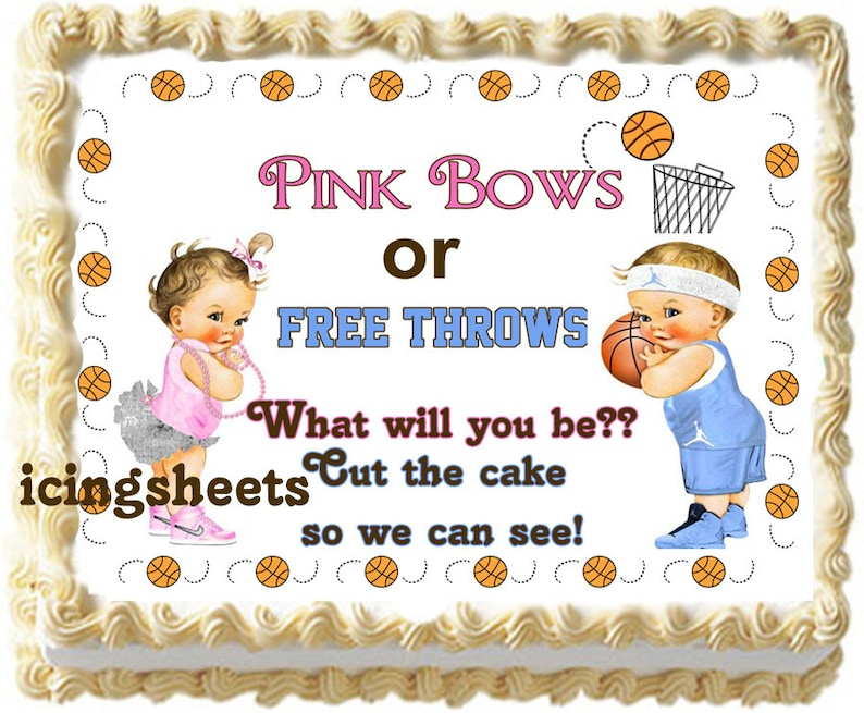 Gender Reveal Baby shower edible frosting cake top Icing boy or girl