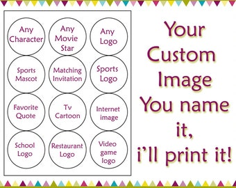 Custom image Edible cookie toppers cupcake tops party decoration birthday tranfers 1 dozen wafer paper