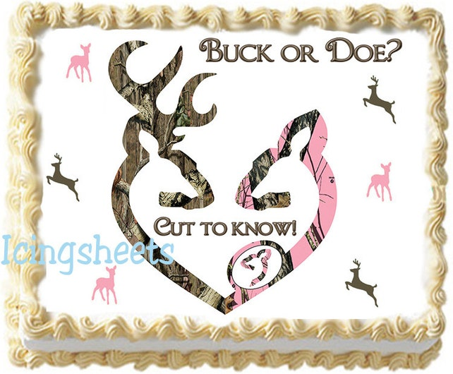 Camouflage Baby Shower Cake Topper Boy Girl Buck Doe Cake Etsy
