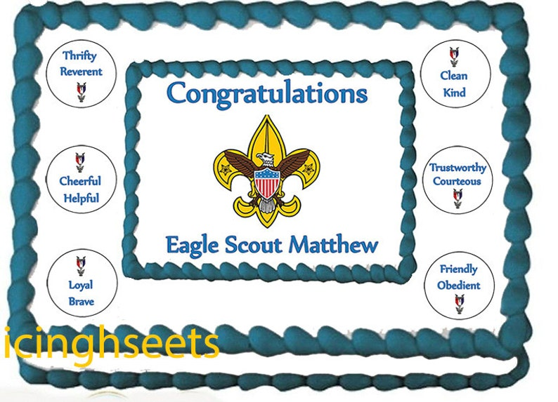 Eagle Scout Boy Scouts Edible Icing Custom Cake Transfer Etsy