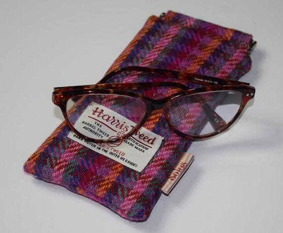 029c7b779580 Red   Pink Multicolour check Harris Tweed glasses case. UK