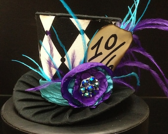 Purple and Blue Mad Hatter Mini Top Hat. Great for Birthday Parties, Tea Parties, Photo Prop, Girls Night Out and Much More...