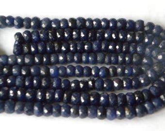 Corundum Precious Gemstone, Natural Sapphire Beads Hand Faceted Rondelle Natural Blue Sapphire Faceted Rondelle Beads 3.5-4mm 16 In