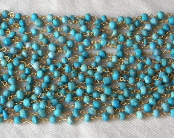 Blue Turquoise Rosary Chain Turquoise Beads 9 to 18 Inch Gold Vermeil Wire 4mm Semiprecious Gemstone Beads Take 10% Off Jewelry Supply Chain
