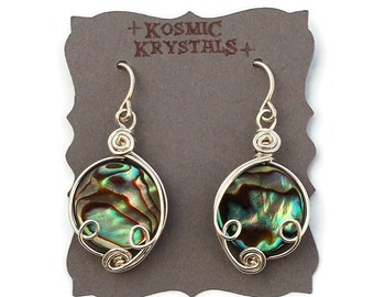 Blue Green Abalone Shell Earrings in Sterling Silver / Iridescent Sea Shell Jewelry / Mother of Pearl Coin Bead Dangle Earrings