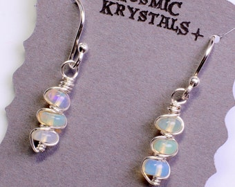 Rainbow Opal Earrings and Necklace Set in Sterling Silver / Dainty Polished Jelly Opal Jewelry / Small Dangle Earrings and Pendant