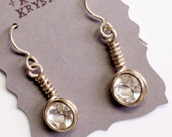 Round Faceted Quartz Earrings in Sterling Silver / Wire wrapped Jewelry / Clear Quartz Crystal