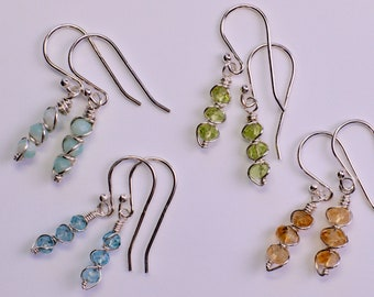 Small Faceted Gemstone Earrings in Sterling Silver / Amazonite, Blue Topaz, Citrine, or Peridot / Dainty Blue, Yellow, Green Dangle Earrings