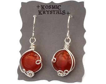 Carnelian Earrings in Sterling Silver / Wire Wrapped Gemstone Earrings / Crystal Jewelry / Red and Silver Jewelry / Artisan Jewelry