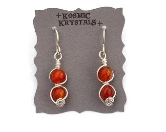 Carnelian Gemstone Earrings in Sterling Silver / Wire Wrapped Gemstone Earrings / Crystal Jewelry / Red and Silver Jewelry / Artisan Jewelry