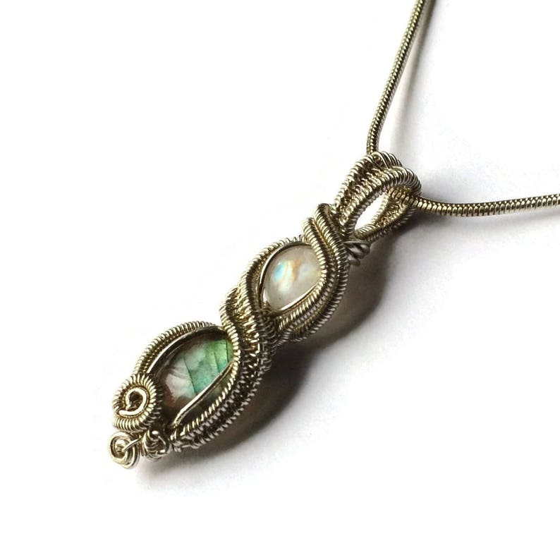 Rainbow Moonstone and Labradorite Infinity Wire image 0