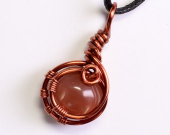 Red Moonstone Wire Wrap Pendant in Copper / Dark Red Gemstone Necklace / Artisan Jewelry