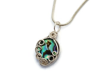 Swirly Abalone Shell Wire Work Neckace / Wire Wrap Shell Pendant in Sterling Silver / Mermaid Jewelry / Green Blue Abalone Shell