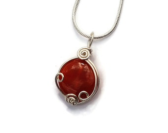 Carnelian Gemstone Pendant in Sterling Silver / Wire Wrapped Jewelry / Red and Orange Stone Necklace / Artisan Jewelry