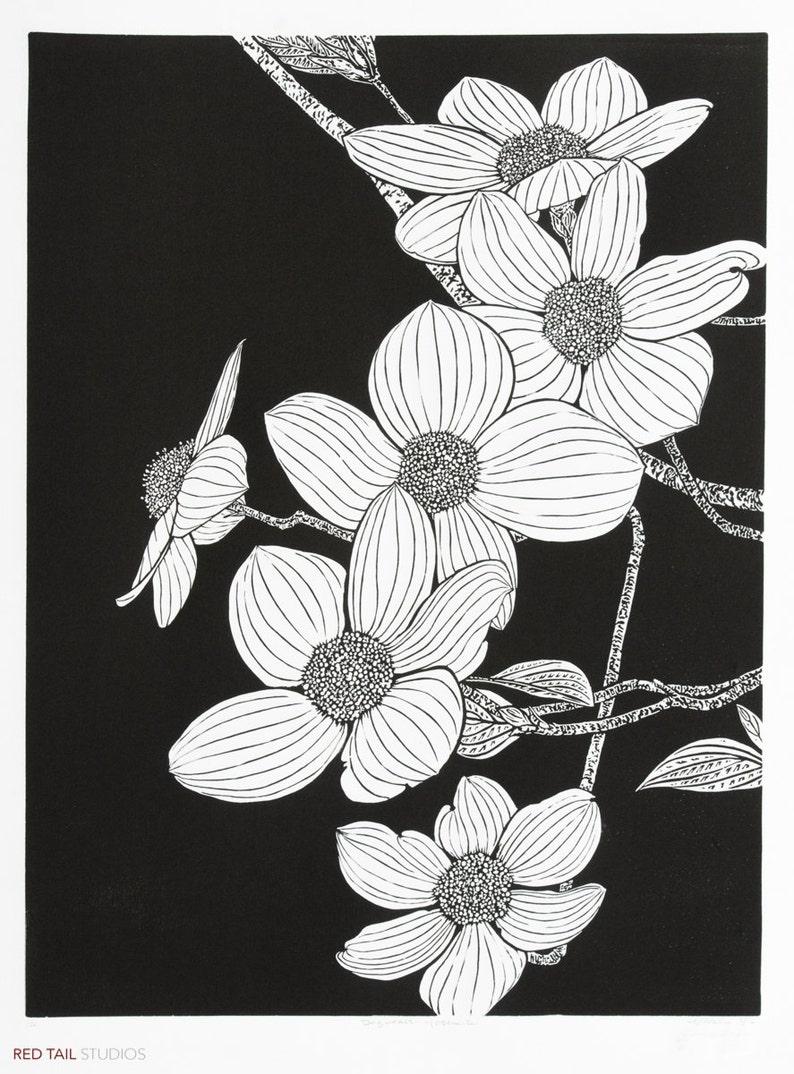 Dogwoods  Yosemite Flowering Tree Fine Art Linocut Print 24 image 0
