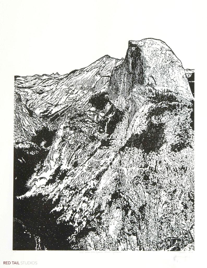 Half Dome from Glacier Point  Yosemite Fine Art Linocut image 0