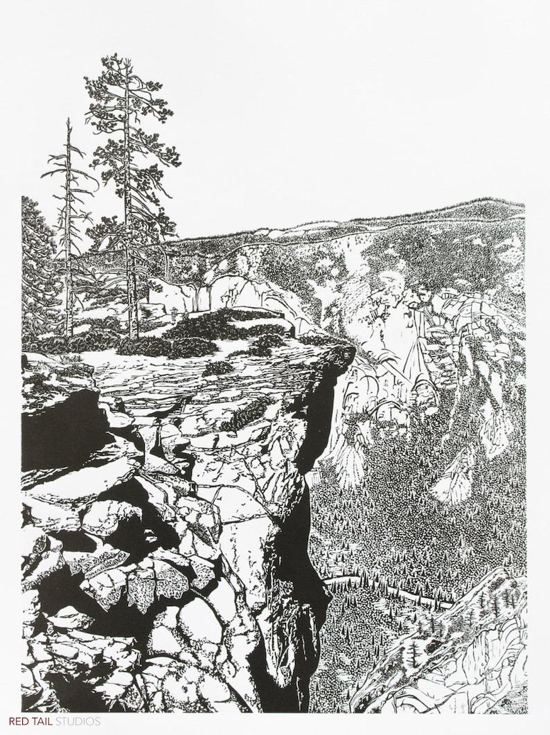 Taft Point Fissures  Yosemite Fine Art Linocut Print 24 x 18 image 0