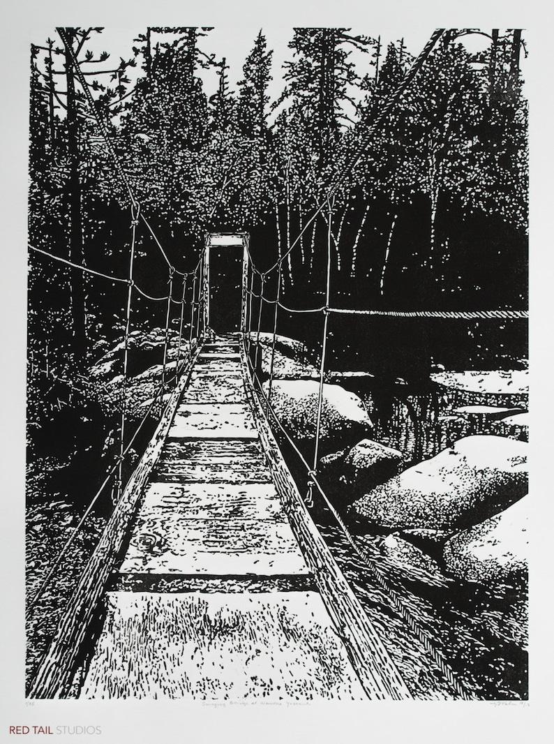 Swinging Bridge at Wawona  Yosemite Fine Art Linocut Print image 0
