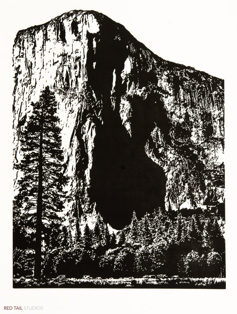 El Cap  Yosemite Linocut Relief Print 24 x 18 Black & White image 0