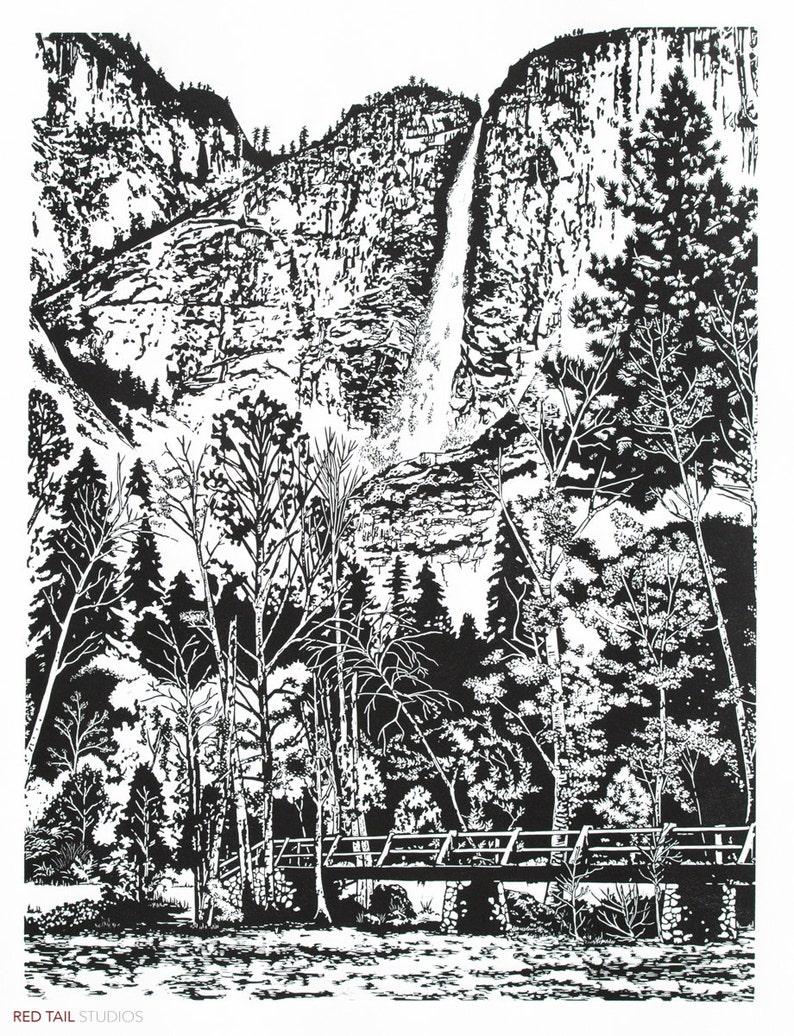 Spring Runoff  Yosemite Famous Falls Fine Art Linocut Print image 0