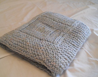 Blue knitted baby afghan