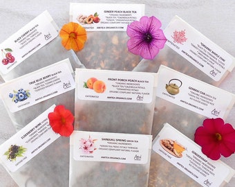 Tea Samples, Organic, Loose Leaf Samples, YOU CHOOSE 6, Trial Size, Free Sample, Handcrafted Teas, Hot Tea, Gift Ideas, Healthy Living