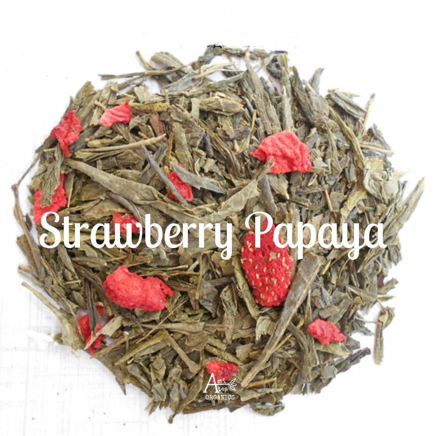 Strawberry Green Tea, Organic, Loose Leaf, STRAWBERRY PAPAYA, Fruit Tea, Vegan, Non GMO, Healthy Tea Gift, Tea Lover Gift, Berry Tea