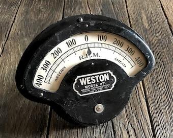 Vintage Gauge - Mechanical Gauge - Large Old Boat Gauge - Weston Boat Gauge - Boat Throttle Gauge - Large Black And White Industrial Gauge