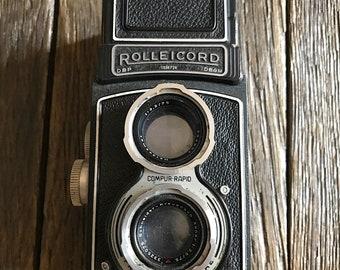 Antique Camera - Antique Rolleicord Camera - Old Rolleicord Box Camera With Original Leather Camera Case - Old Camera - Rare Camera