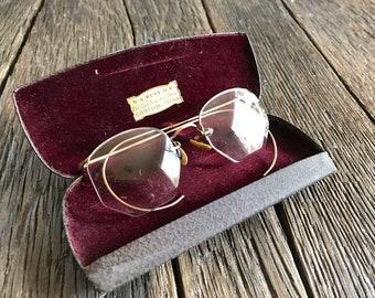 e21e01134ed Antique Eyeglasses - Antique Gold Reading Glasses With Antique Glasses Case  - 12k Gold Fill Reading Glasses