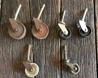 Antique Furniture Caster Wheels - 6 Small Metal And Plastic Wheels - Antique Wheels - Antique Furniture Wheels With A Metal Post